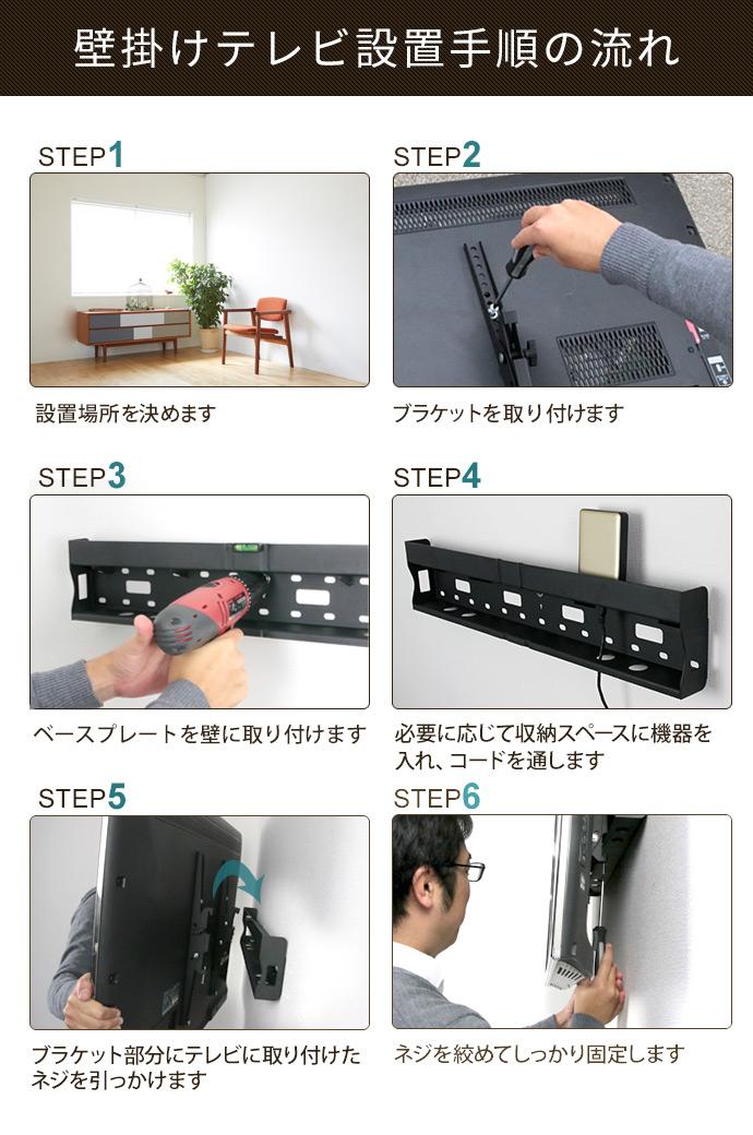 壁掛けテレビ設置手順の流れ。1、設置場所を決めます。2、ブラケットを取り付けます。3、ベースプレートを壁に取り付けます。4、必要に応じて収納スペースに機器を入れ、コードを通します。5、ブラケット部分にテレビを取り付けたネジをひっかけます。6、ネジを締めてしっかり固定します。